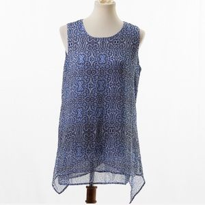 Fever Blue Double Layer Sleeveless Blouse Medium